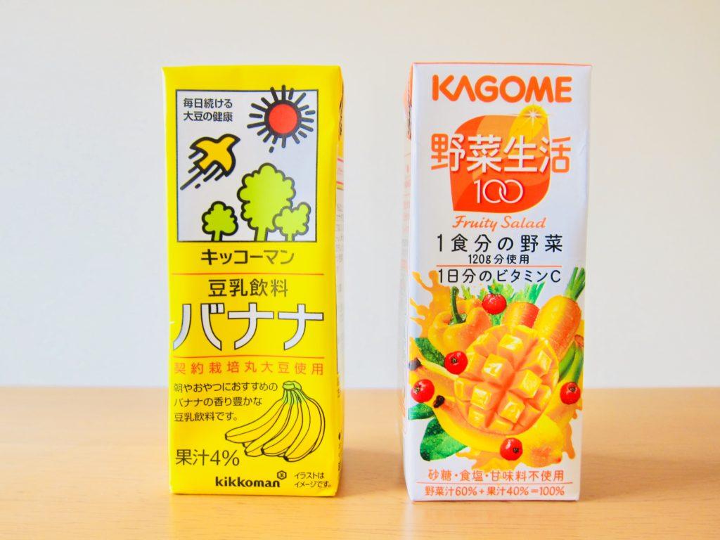 豆乳バナナ味と野菜ジュース