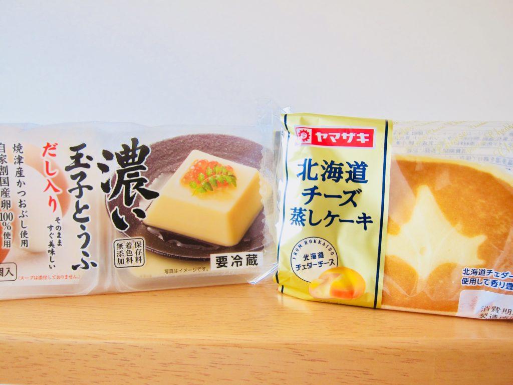 卵豆腐と北海道チーズ蒸しケーキ